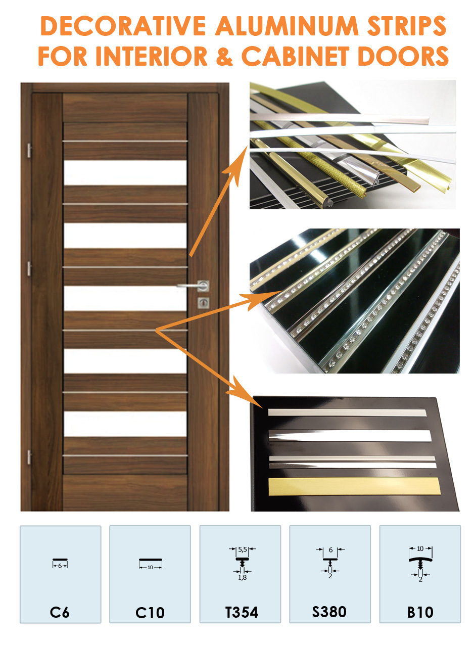 Decorative Aluminum Strips for Interior & Cabinet Doors