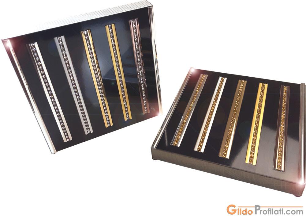 Decorative Aluminum Strips for Doors - Crystal Inserts - Metallic Frames