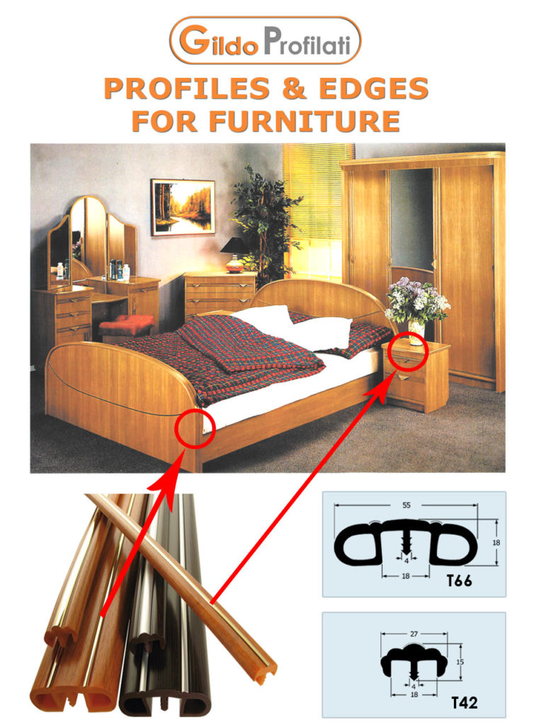 T-mouldings and Adhesive Edges Profiles for Furniture