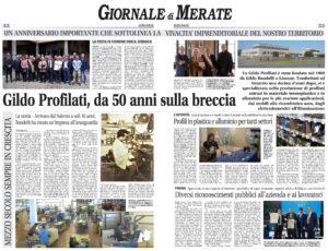 50 Anniversario Gildo Profilati sul Giornale di Merate